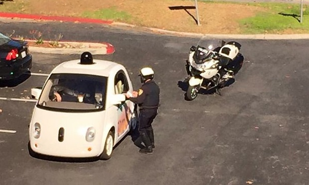 The Google car was pulled over for impeding traffic