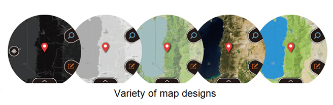 Variety of map designs. Image credit: Casio.com